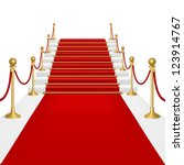 red carpet with ladder.... | Shutterstock .eps vector #123914767