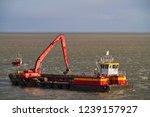 red dredging vessel working on... | Shutterstock . vector #1239157927