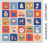 christmas cute advent calendar. ... | Shutterstock .eps vector #1239176881