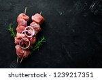raw shish kebab. barbecue meat...