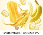 banana popsicle splash ads.... | Shutterstock .eps vector #1239236197