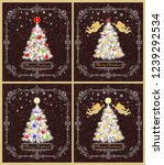 greeting retro xmas cards... | Shutterstock .eps vector #1239292534