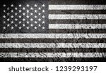 black and white retro usa flag | Shutterstock . vector #1239293197