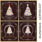 greeting retro christmas cards... | Shutterstock .eps vector #1239301237
