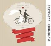 vintage wedding invitation with ... | Shutterstock . vector #123931519