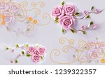 pink rose flowers on decorative ...   Shutterstock . vector #1239322357
