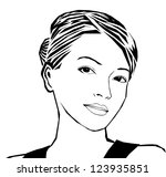 woman's head with hair in a bun | Shutterstock .eps vector #123935851