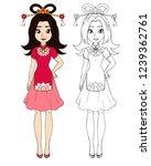 teenage girl wearing chinese... | Shutterstock .eps vector #1239362761