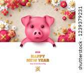 cheerful piglet with pink paper ... | Shutterstock .eps vector #1239379231
