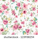 seamless spring cute tiny... | Shutterstock .eps vector #123938254