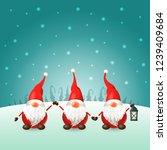 scandinavian gnomes on winter...   Shutterstock .eps vector #1239409684