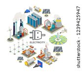 isometric energy round concept | Shutterstock .eps vector #1239425947