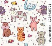 cute animals doodle set. hand... | Shutterstock .eps vector #1239435721