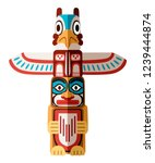 Colored Indian Totem. Wooden...
