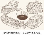 avocado toasts with different... | Shutterstock .eps vector #1239455731