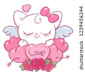 cute white kitty with hearts... | Shutterstock .eps vector #1239456244