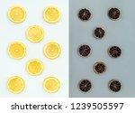 fresh and dried lemon slices on ... | Shutterstock . vector #1239505597