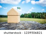 little cardboard house with a... | Shutterstock . vector #1239506821
