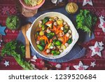 baked roasted vegetables for... | Shutterstock . vector #1239520684