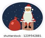 cartoon funny santa claus on...   Shutterstock . vector #1239542881