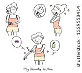 various actions of cute girl... | Shutterstock .eps vector #1239553414