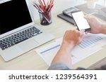 business man using phone on... | Shutterstock . vector #1239564391