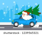 merry santa claus on a car... | Shutterstock . vector #1239565321