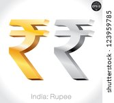 3d golden   silver rupee sign... | Shutterstock .eps vector #123959785