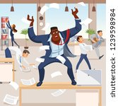 angry boss screams in chaos at...   Shutterstock .eps vector #1239598984