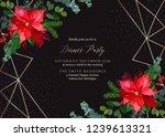 christmas red poinsettia ... | Shutterstock .eps vector #1239613321