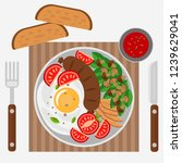 scrambled eggs with sausage ... | Shutterstock .eps vector #1239629041