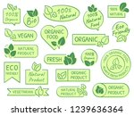 green leaves labels. eco ... | Shutterstock .eps vector #1239636364
