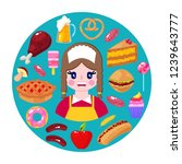 cheerful seller and fast food... | Shutterstock .eps vector #1239643777