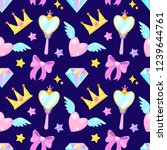 seamless pattern with crown... | Shutterstock .eps vector #1239644761