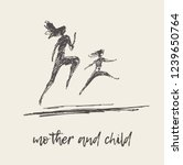 mother and child running... | Shutterstock .eps vector #1239650764