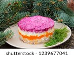 Stock photo new year s salad herring under a fur coat herring under a fur coat or simply under 1239677041