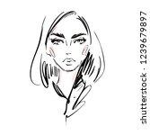 beautiful young woman face... | Shutterstock .eps vector #1239679897