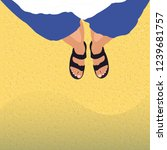 tanned male legs in sandals on... | Shutterstock .eps vector #1239681757