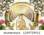 3d wallpaper  buddha with...   Shutterstock . vector #1239729511