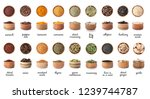 wooden bowls with different... | Shutterstock . vector #1239744787