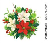 christmas decoration with red... | Shutterstock .eps vector #1239760924
