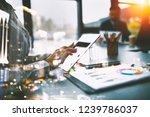 businesswoman works in office... | Shutterstock . vector #1239786037