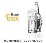bottle of beer. glass with beer.... | Shutterstock .eps vector #1239787924