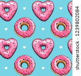 Seamless Pattern. Pink Heart...
