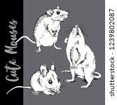 adorable white little mouses. ... | Shutterstock .eps vector #1239802087