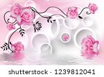pink rose flowers over lake in...   Shutterstock . vector #1239812041