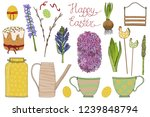 vector easter set for design on ... | Shutterstock .eps vector #1239848794