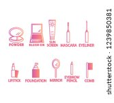 10 skin care and make up...   Shutterstock .eps vector #1239850381