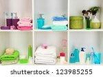 bath accessories on shelfs in... | Shutterstock . vector #123985255