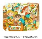 children engage in creative...   Shutterstock . vector #123985291